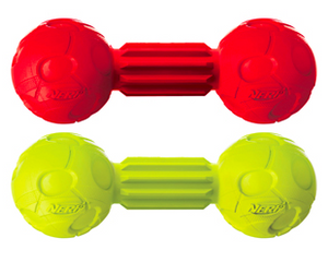 2177 vp6832 846998021777 nerf dog squeak barbell 7 inches medium