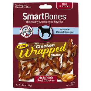 smart bones chicken wrapped mini sticks 15 count pack