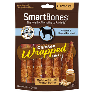 smart bones chicken wrapped peanut butter sticks 8 count pack