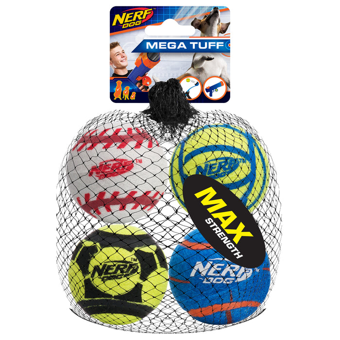 Nerf Dog Tough Sports Ball Medium 4/Pack
