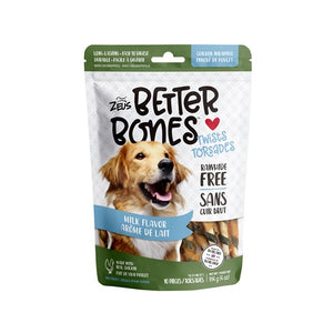 zeus better bones milk chicken rawhide alternative chew twist 022517927540 92754