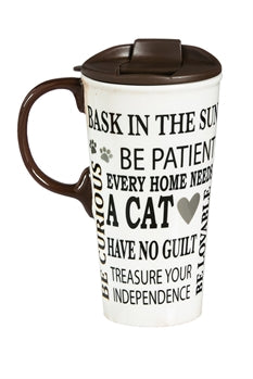 Decorative Travel Mug: Cat Rules