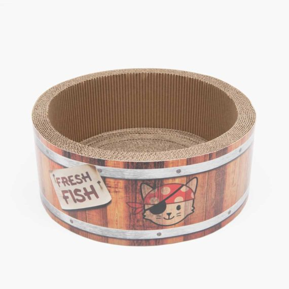Catit Pirates – Barrel Scratcher with Catnip – Large