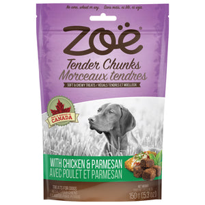 zoe tender chunk moist dog treat chicken and parmesan