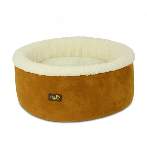 Tan comfy cat or dog bed