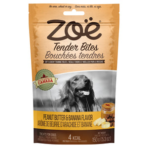 zoe tender bites peanut butter and banana moist dog treats
