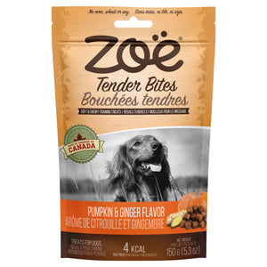 zoe tender bites pumpkin and ginger moist dog treats