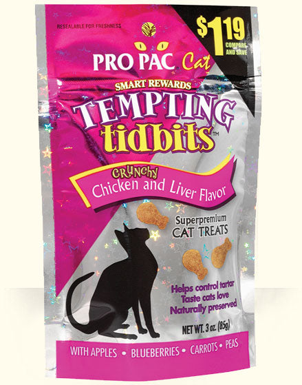 PRO PAC®Tempting Tidbits Crunchy Chicken and Liver Flavor Cat Treats