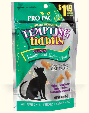 PRO PAC®Tempting Tidbits Crunchy Salmon and Shrimp Flavor Cat Treats