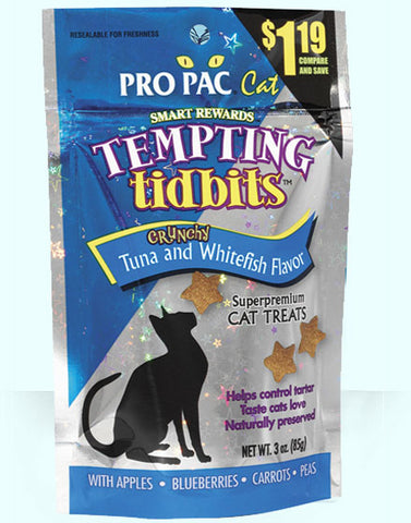 PRO PAC®Tempting Tidbits Crunchy Tuna and Whitefish Flavor Cat Treats