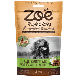 zoe tender bites vanilla and mint moist dog treats
