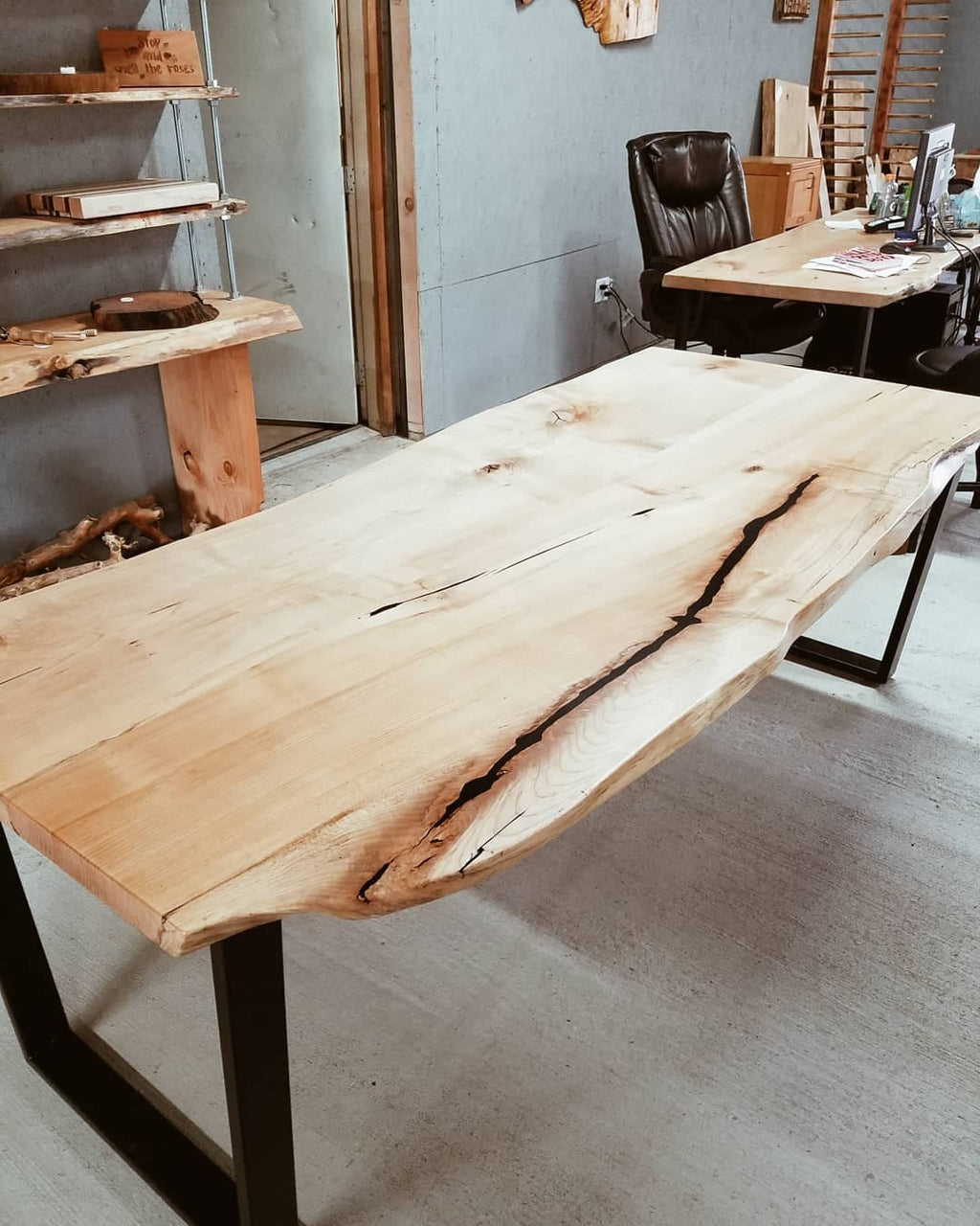 Live Edge Maple Dining Room Table w/ Steel Tube Legs - Shipping Not Included