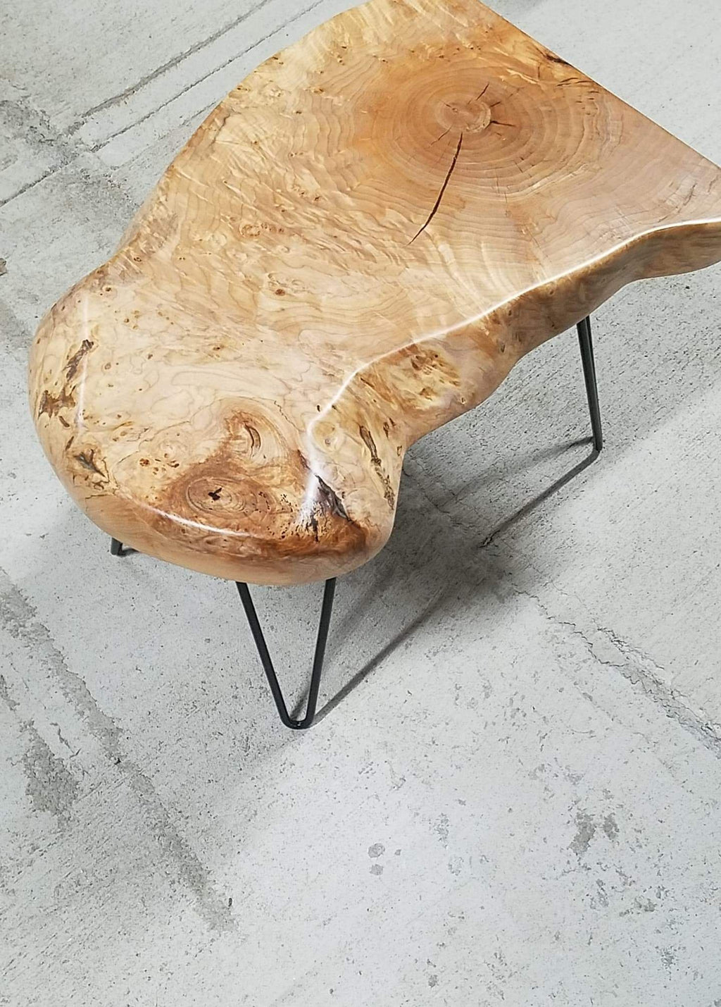 Maple Burl End Table w/ Hairpin Legs - free shipping to U.S
