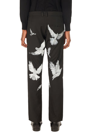 BAKO FLYING BIRDS BLACK WOOL TROUSERS