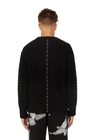 EVITA BLACK CABLE KNIT SWEATER