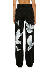 VICKIE Birds Washed Black Women's Jeans