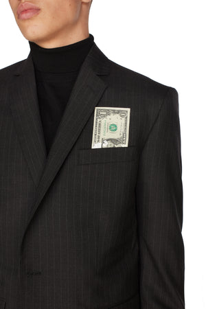 ARSY GREY PINSTRIPES DOLLAR BLAZER