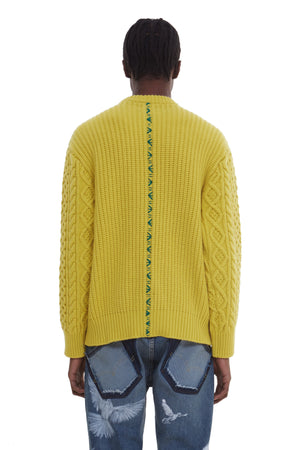 EVITA LIME CABLE KNIT SWEATER
