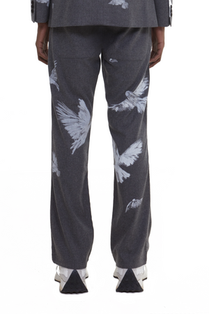 BAKO FLYING BIRDS GREY WOOL TROUSERS