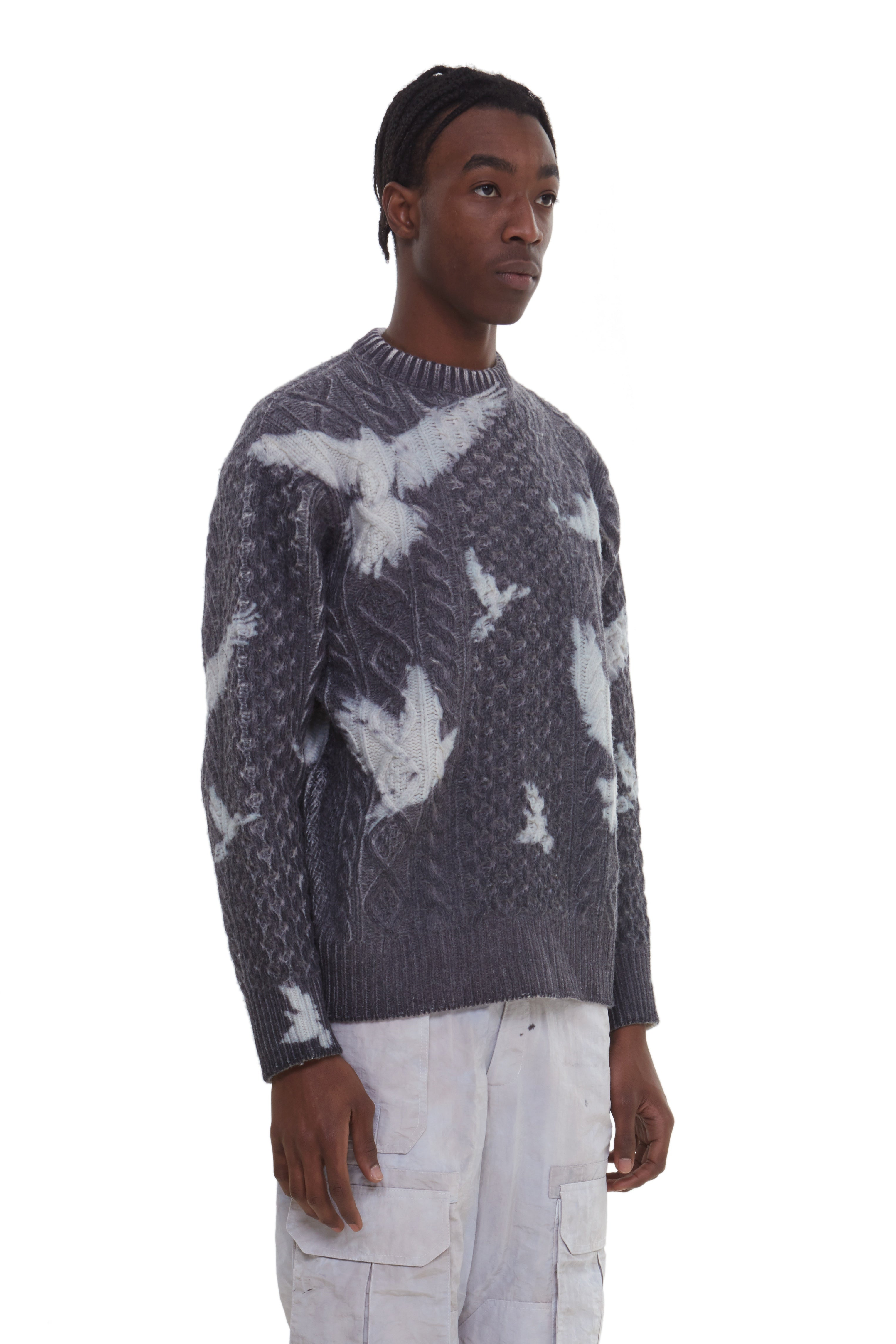 EVITA BIRDS CABLE KNIT SWEATER