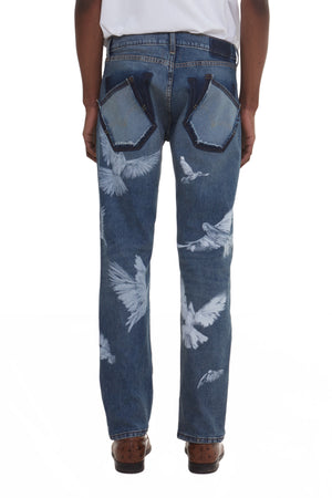 VICKIE FLYING BIRDS DENIM JEANS