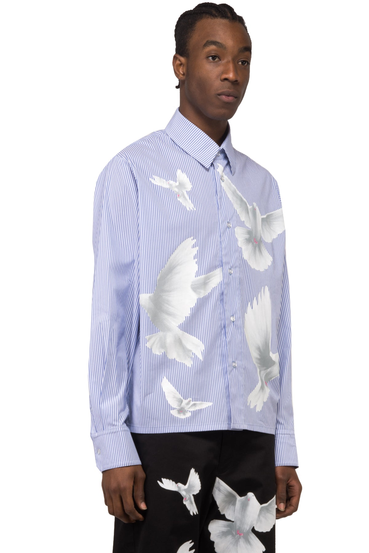 DESIREE STRIPES BIRDS BUTTON SHIRT