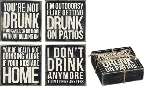 Box Sign Coasters - Drinking