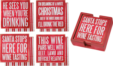 Box Sign Coasters - Xmas Wine