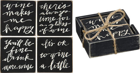 Box Sign Coasters - More Wine