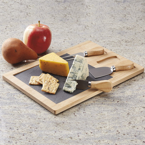 BAMBOO/SLATE CHEESE BOARD AND KNIVES SET