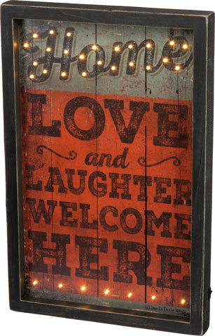 LED Box Sign - Love and Laughter