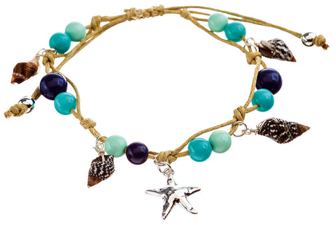 BLUE SHELL STARFISH ANKLET