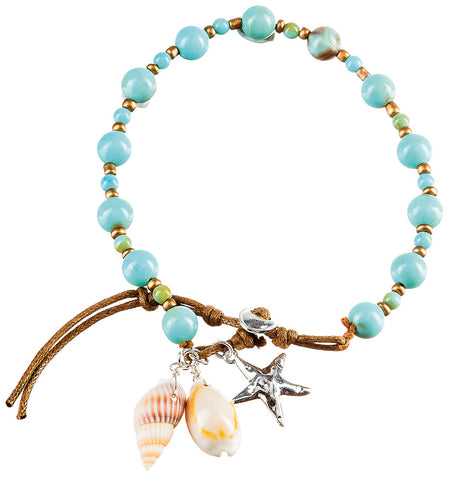 BLUE BEAD SHELL ANKLET
