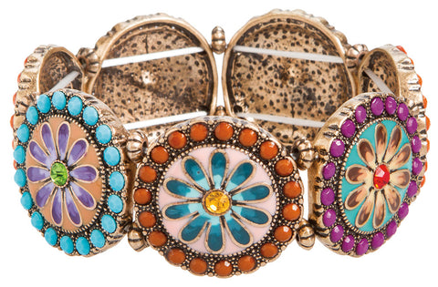 BRIGHT COLORS FLOWER WHEEL BRACELET