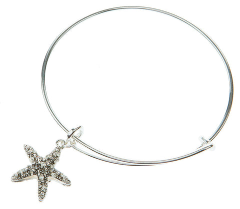 BURNISHED SILVER STARFISH EXPANDABLE BANGLE