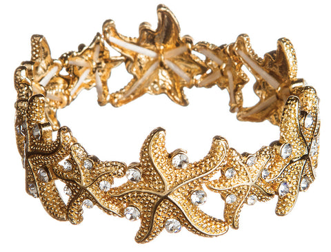 GOLD STARFISH WITH CRYSTAL BRACELET