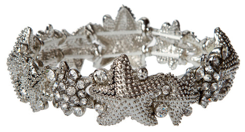 SILVER CLEAR CRYSTAL STARFISH BRACELET