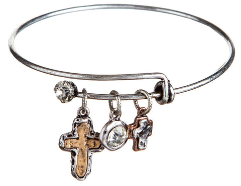 SILVER WITH MULTI METAL EXPANDABLE CROSS BRACELET