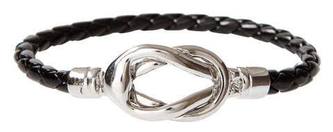 SILVER KNOT LEATHER BRACELET