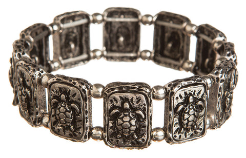 SILVER RAISED OXIDIZED TURTLE BALL BRACELET