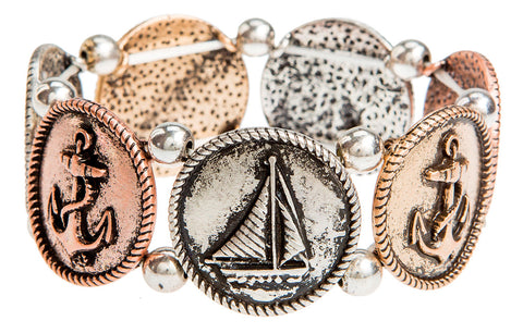 BRIGHT MULTI METAL BOAT THEME BRACELET