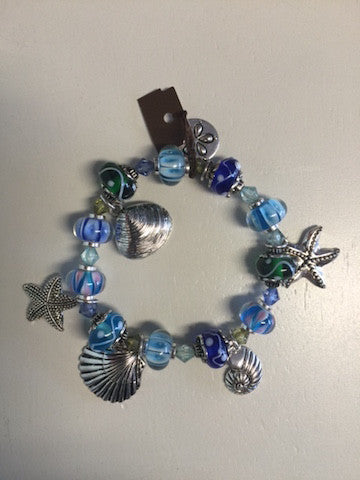 BLUE GLASS BEAD NAUTICAL CHARM BRACELET