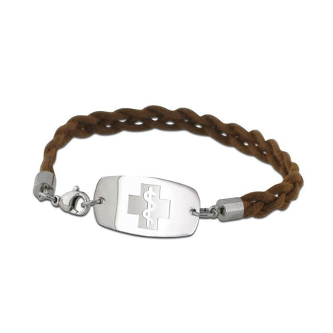 NEW! Bohemian Braid Bracelet - Small Emblem - Lobster or Safety Clasp - Brown
