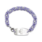 Byzantine Bracelet - Small Emblem - Lobster or Safety Clasp - Lavender Ice & Silvered Ice