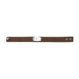 NEW! Casual Leather Wristband - Small Emblem - Snap Closure - Brushed Applewood Brown