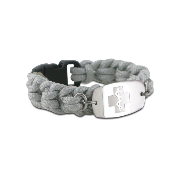 NEW! Paracord Bracelet - Small Emblem - Buckle Closure - Gray