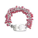 NEW! Frosted Ice Bracelet - Small Emblem - Watermelon & Silver Ice - Lobster or Safety Clasp
