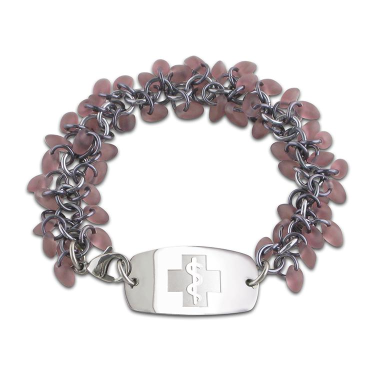 NEW! Frosted Ice Bracelet - Small Emblem - Grape & Gun Metal Ice - Lobster or Safety Clasp
