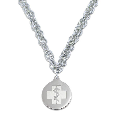 Twisted Elements Necklace - Medallion Emblem - Lobster Clasp - Silvered Ice