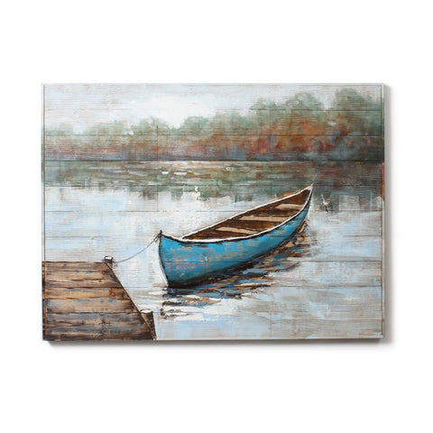 Blue Boat Tied To Pier Painting On Wood